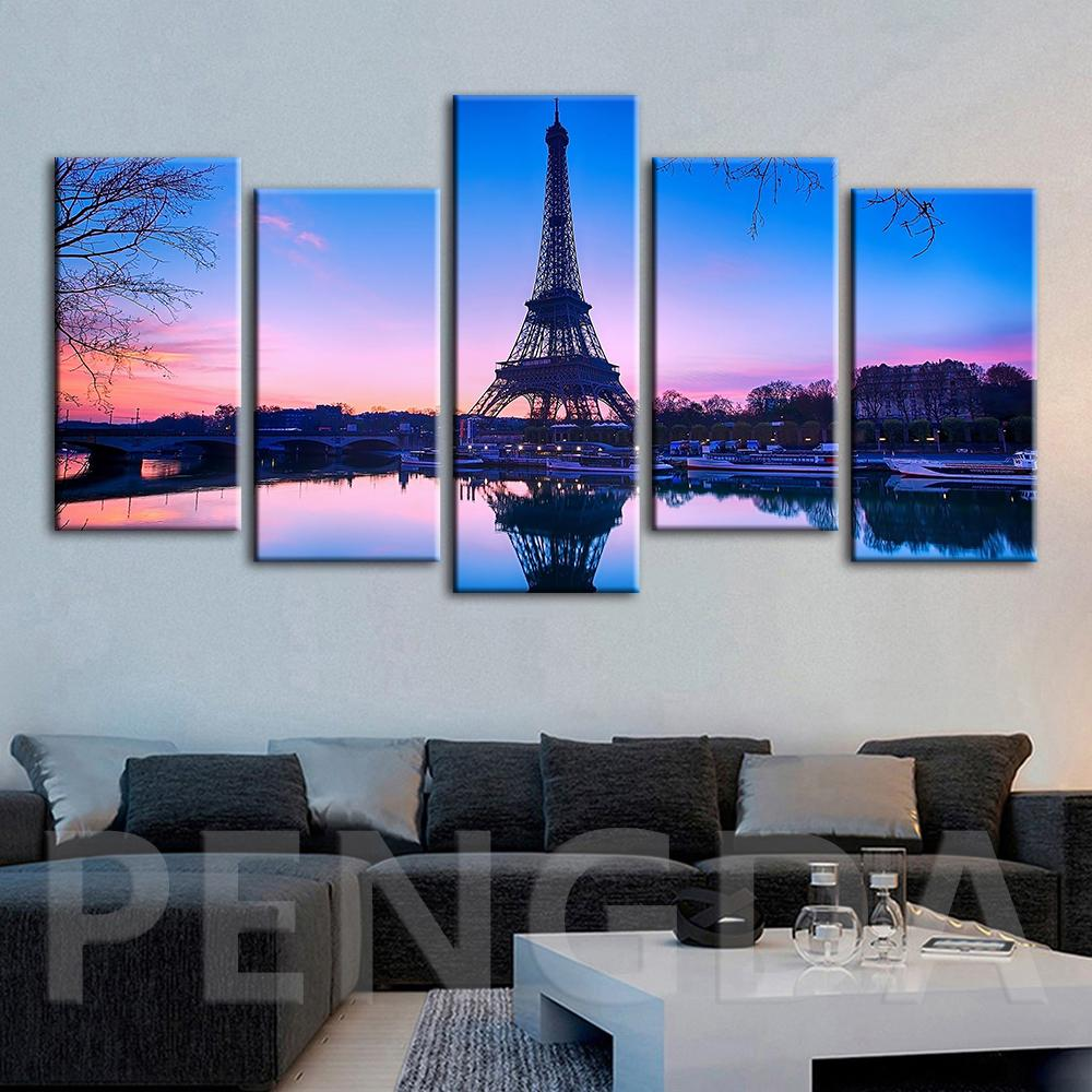 Wall Art Home Decoration Canvas Print Paris Tower Sunset Landscape Painting Modern For Living Room Modular Pictures Frame Poster