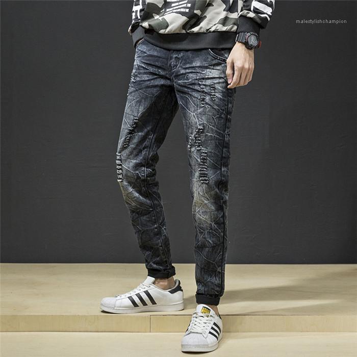 Mens Fit Jeans slim hole Noir Distrressed Mid taille Pantalons Homme Pantalons Zipper Fly