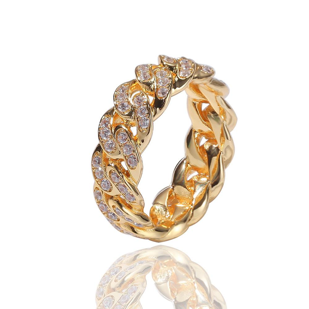 Hip Hop Punk Finger Rings 2020 Fashion Cuban Link Chain 8mm Zircon-plated Real Gold Trend Men's Ring Jewelry Accessories