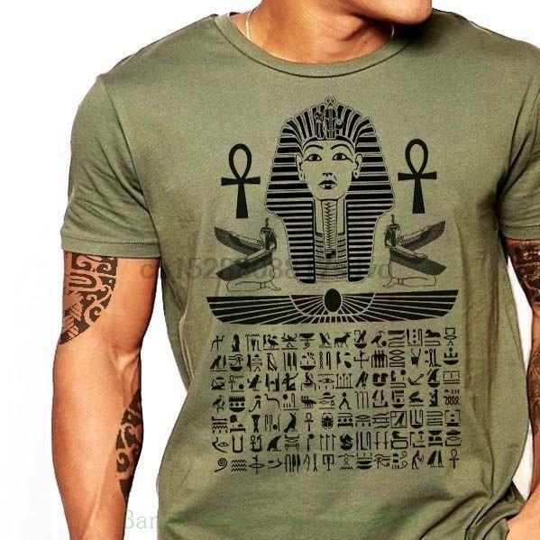 Mısırlı T Gömlek Mısır Hiyeroglif Firavun Erkekler Pamuk Tee Boyut S - 2XL Yeni Kalite Yeni Yaz Stili Cotton yazdır