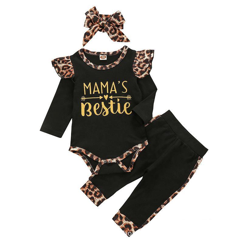 Sonbahar Bebek Giyim Bebekler Harf Uzun Kollu Romper Üst + Leopar Pantolon + Bantlar 3pcs / set Butik Çocuk Erkekler Kızlar Kıyafetler M2286 ayarlar