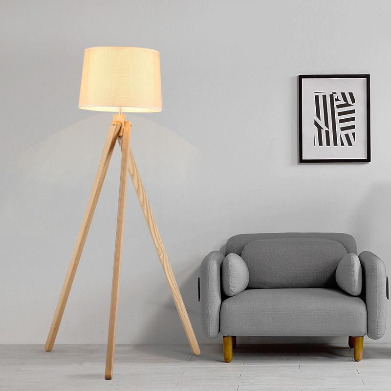 Fashion Wood Tripod Fabric Floor Lamp Home Living Room Dining Room Bedroom Beside Decor Standing Light FA097