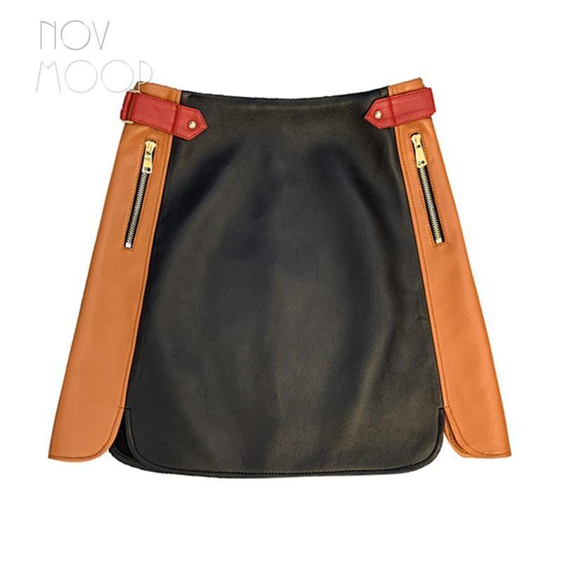 novmoop nova cor contrato de moda em couro genuíno da pele de carneiro mulheres saia fivela de metal decoração Falda de couro LT3224