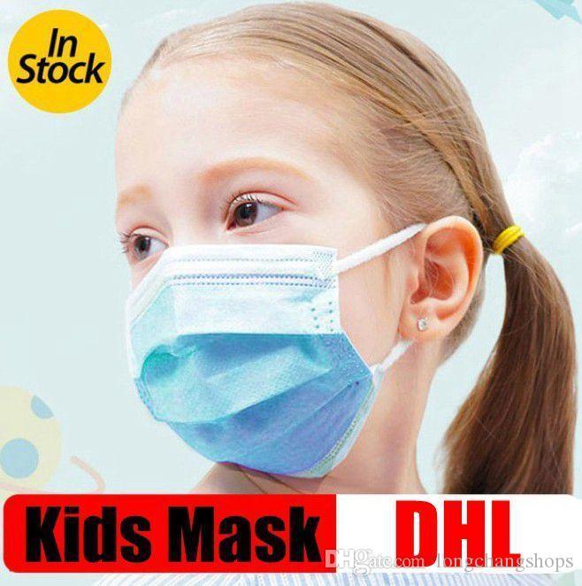 Máscara para niños infantiles desechables mascarillas 3 capas azules Máscaras la boca de algodón de la cara no tejida máscara anti-polvo máscara de niño