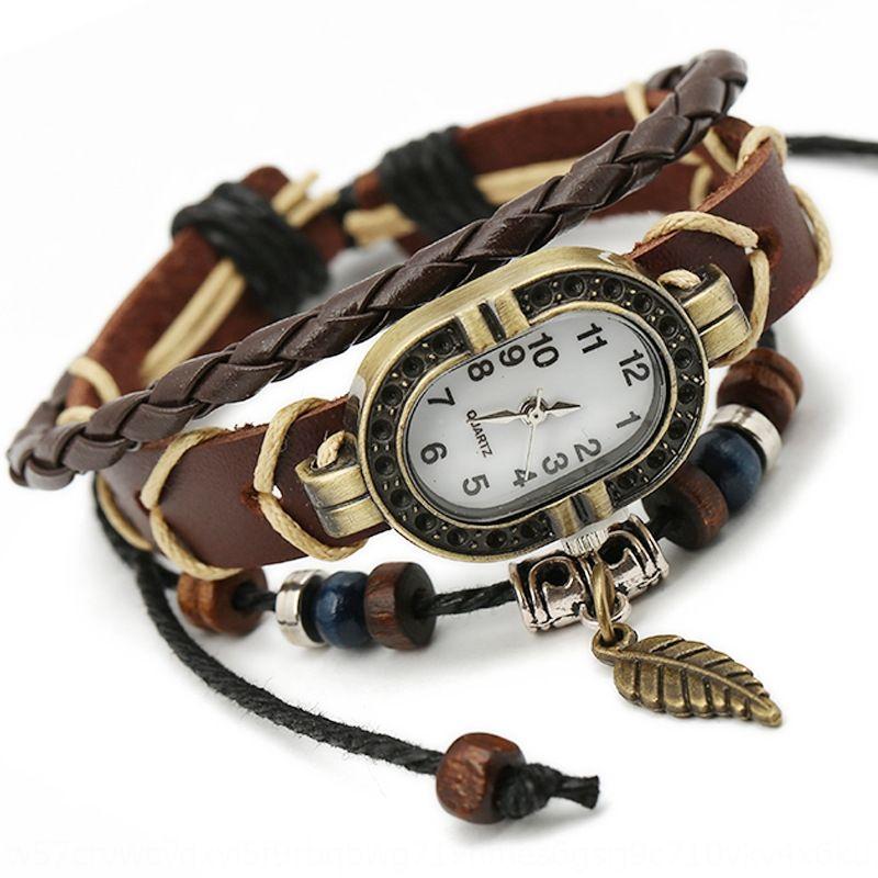 Новые сплетенный кожаный мужской браслет и кожа часы коровьей браслет стиль часы лист женщин