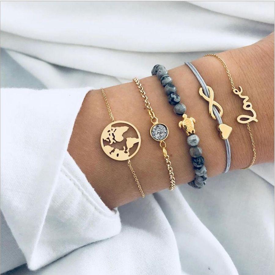 패션 보석 팔찌 세트 5PCS / 하트 (8)을 통해 금속 도금 체인 로프 회색 돌 구슬 가닥 사랑 거북이지도 라운드 액세서리를 설정
