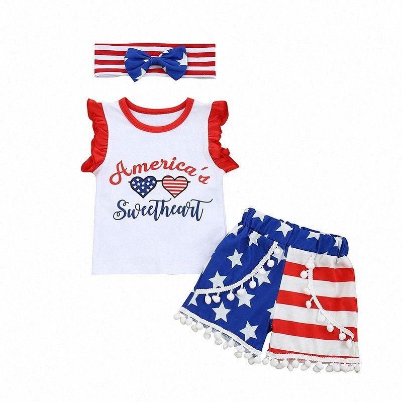 Yeni Bebek Yenidoğan Bebek Kız Giyim Bağımsızlık Günü Mektubu Romper + Hairball Kısa Pantolon + Kafa 3PCS Yaz Kıyafet Set1 erKJ #