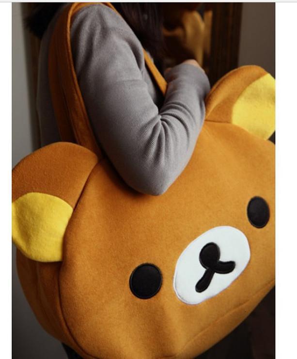 Cartoon 1 Piece Rilakkuma Cute Big Bag Handbag Shoulder Plush Zipper Relax Brown Bear Bag
