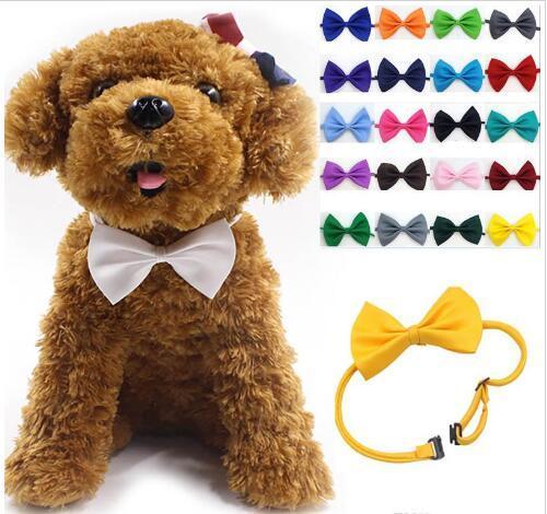 Mezcla accesorios arco collar del animal doméstico de la pajarita de accesorios del cuello del collar del animal doméstico ajustables del perrito de brillante color Pet GB1605