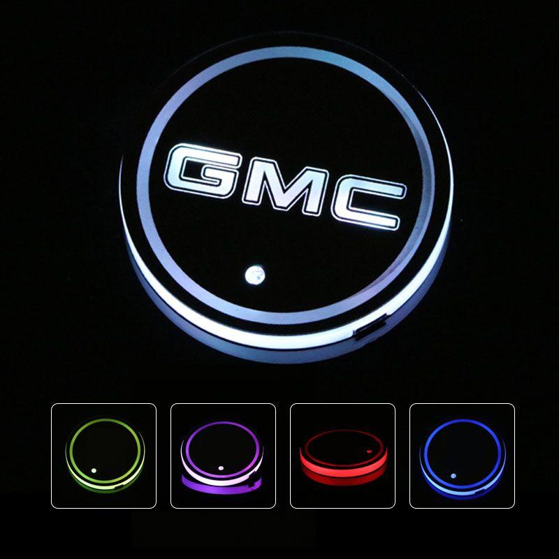 GMC Envoy Canyon Sierra Yukon Safari Savana Car Led Shiny Water Cup Mat Luminous Coaster Atmosphere Light