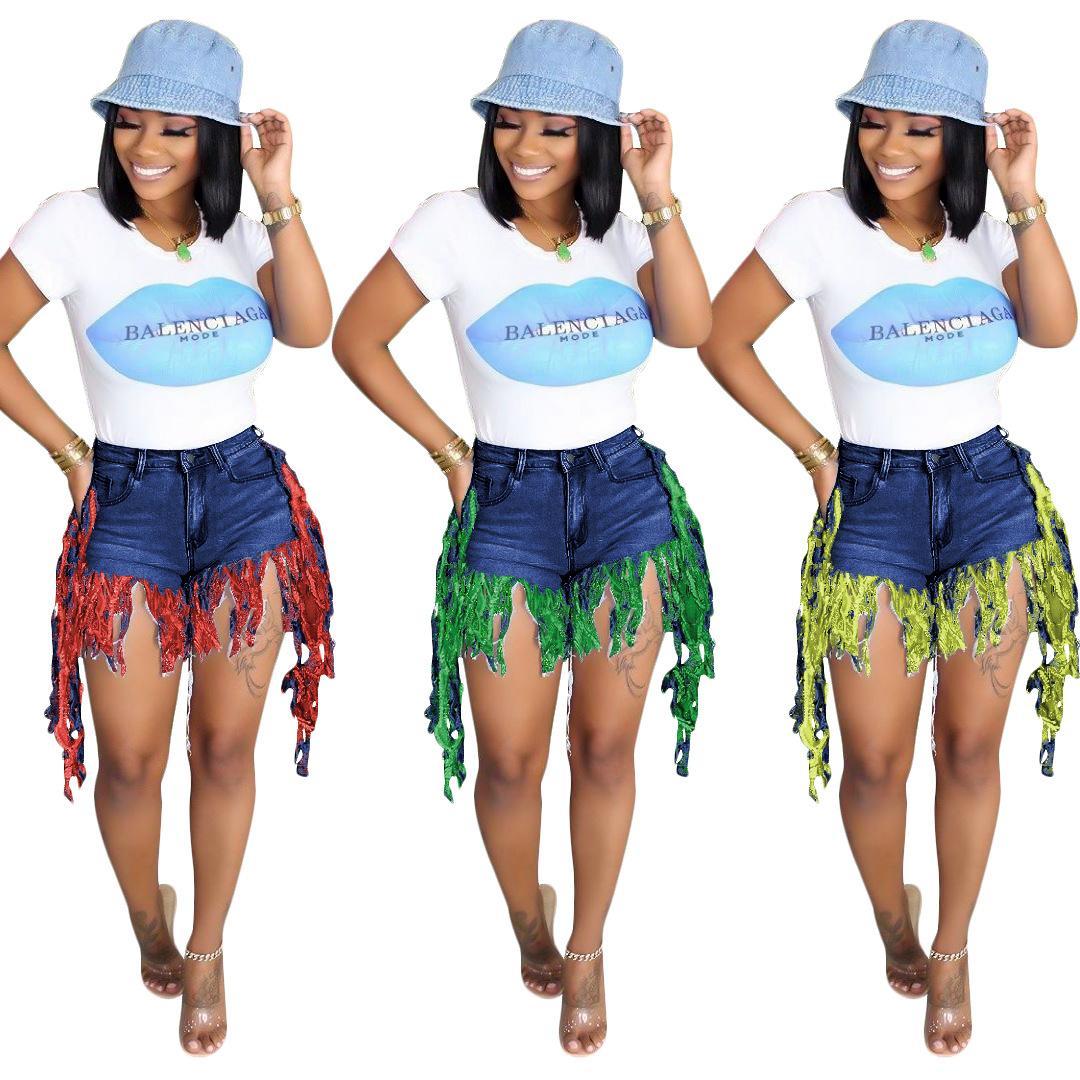 Nuovo arrivato colorate nappe jeans delle donne estate moda strappato a vita alta Magro ritratti jeans Pantaloncini di alta qualità 2020 jeans Shorts