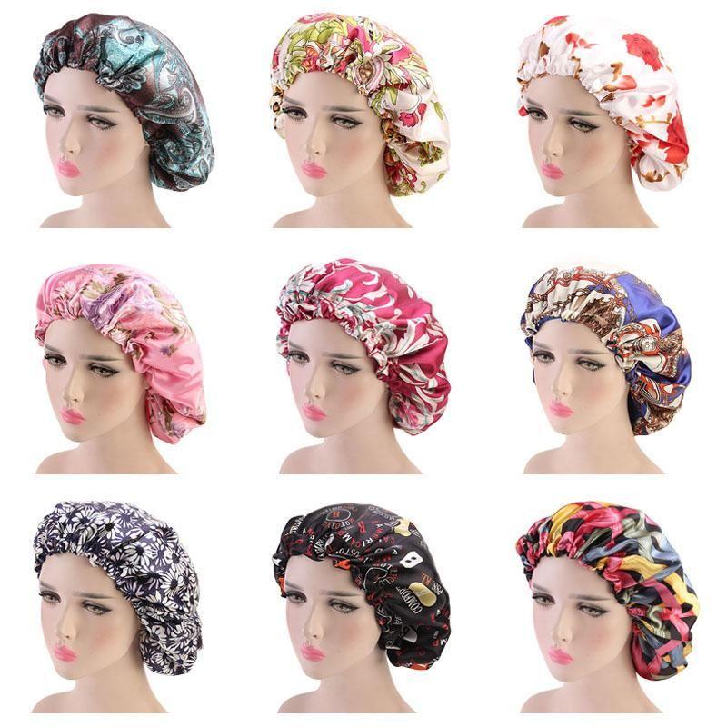 Yeni Çift Katmanlı Çiçek Baskı Saten Gece Hat Kadınlar Merkez Kapağı Uyku Bonnet Saç Bakımı Moda Aksesuarları Caps
