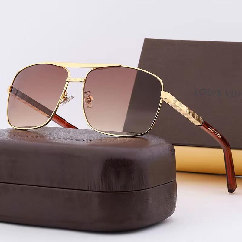 أحدث بيع الأزياء الشعبية L الرجل مصمم النظارات الشمسية مربع لوحة الفاخرة إطار مزيج معدني أعلى جودة عدسة UV400 V