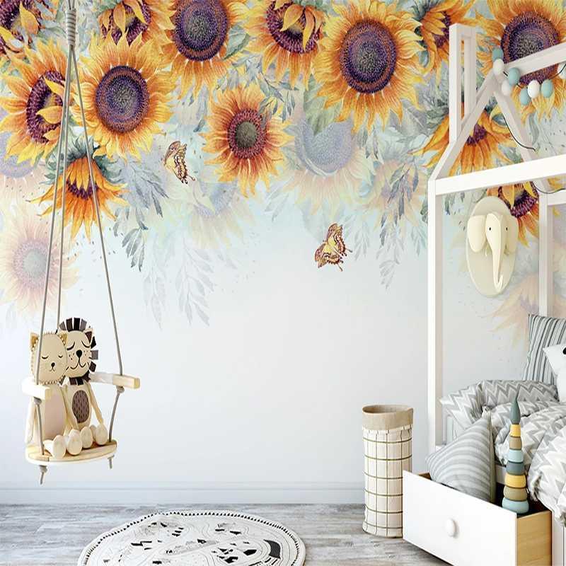 Damla Nakliye Özel El Ayçiçeği Pastoral Çiçek Duvar Yatak Odası Dekorasyon için Kumaş 3D Kabartmalı Duvar kağıdı Dokumasız Boyalı