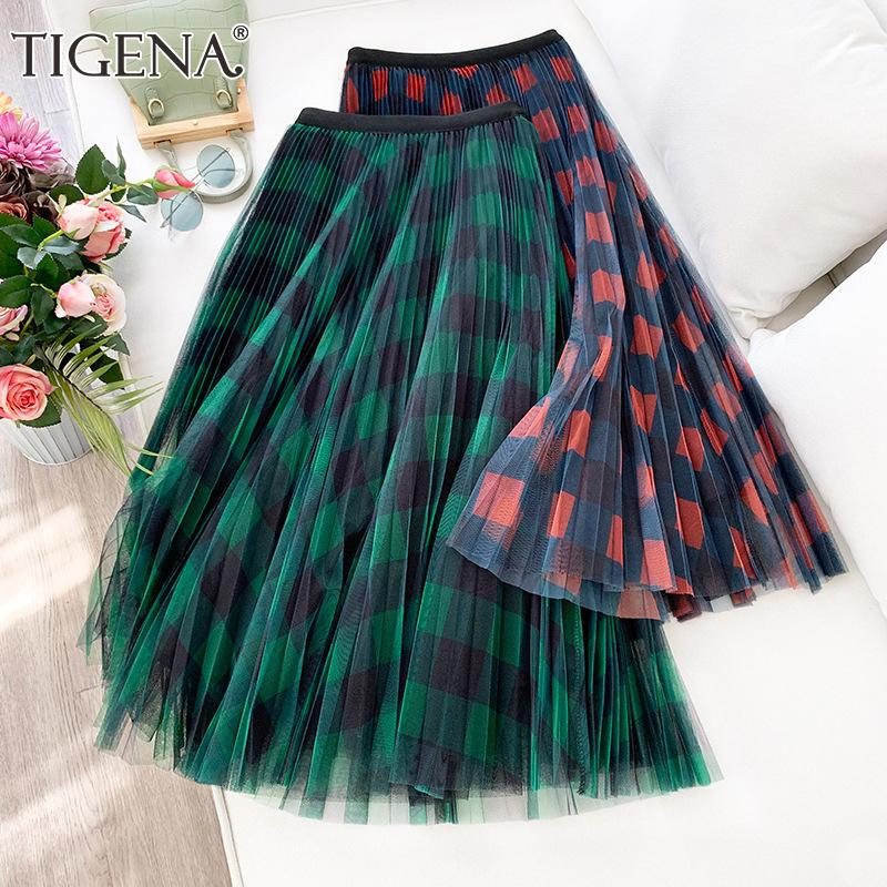 TIGENA Green Red Long Plaid Tutu Tulle Skirt Women Fashion 2020 New Elegant A Line High Waist Pleated Maxi Skirt Female Ladies T200712
