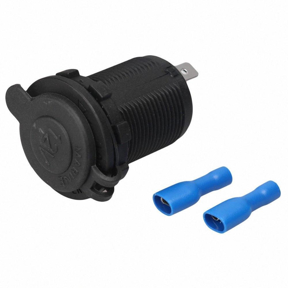 L'alta qualità impermeabile Cigarette Lighter 12-24V 200W di potenza Presa tappo di scarico nera per l'automobile della motocicletta del motociclo u6cr #