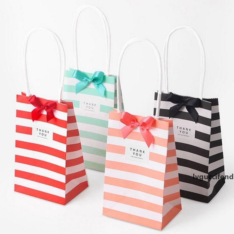7.5*12*5cm Korean Gift Bag Small candy color striped kraft paper mini portable custom Handles Wedding Decoration Jewelry Birthday