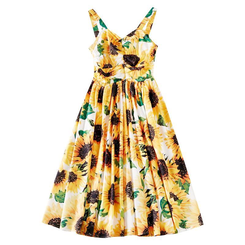 vestido de la liga de impresión girasol estilo de vacaciones A600716 dulce del verano 2020 nueva cintura plisada una línea de Falda fresca pequeña