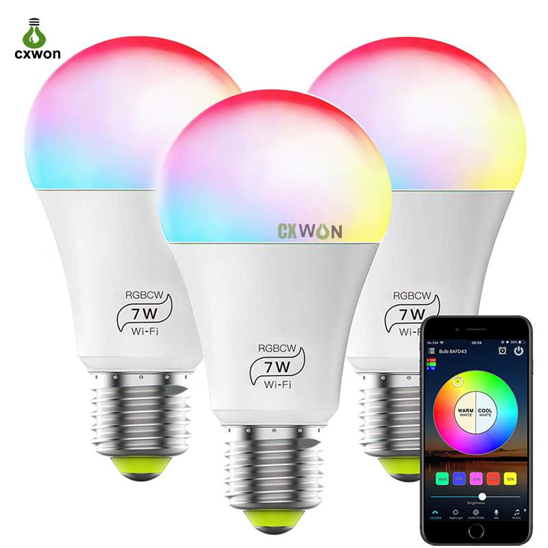 Smart WIFI Bulb Light E27 7W RGBCW Magic Home Smart LED Lights No Hub Required Works with Alexa Google Home and Siri
