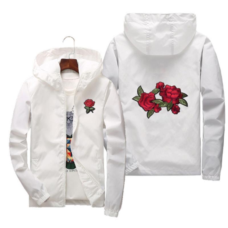 bordado Rose rompevientos Chaqueta de los hombres cremallera con capucha para hombre de las chaquetas de otoño Bombardero de la universidad del equipo universitario de la pista abrigos Mujeres Streetewear