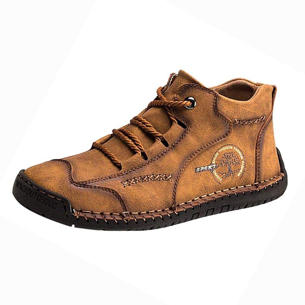 Mens al aire libre sagace Calzado casual para hombre de mano retro con paneles de zapatos cómodos suavemente respirables atan para arriba que conduce los zapatos de los holgazanes casuales CX200727