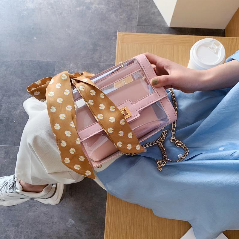 Прозрачная Crossbody Сумка для женщин 2020 Летнего шарфа плеча Сумки Женщина Малого Цепного Бич сумки