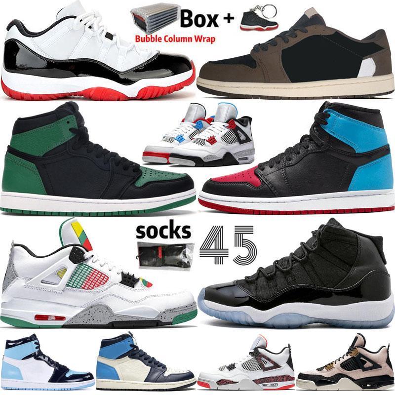 2020 أحذية كرة السلة جديد Jumpman 1 1S OG العليا المحكمة الأرجواني الملكي تو ولدت حجر السج UNC 4 فون 4S ولدت كونكورد 11 11S احذية المدربين مع صندوق