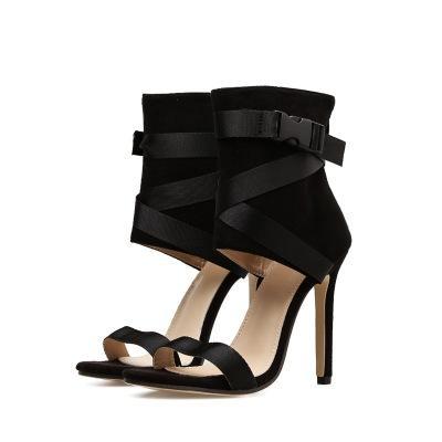 2020 verano peces salvajes boca de cinta transversal nuevos zapatos de las mujeres de la moda super sexy más tamaño sandalias de tacón alto