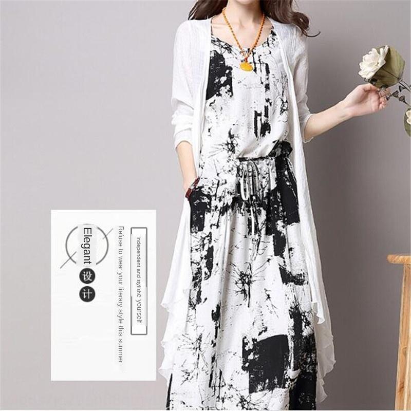 2020 Жилет лето нового стиля знаменитости чернила для печати средней длины жилета платья + кардиган из двух частей платья
