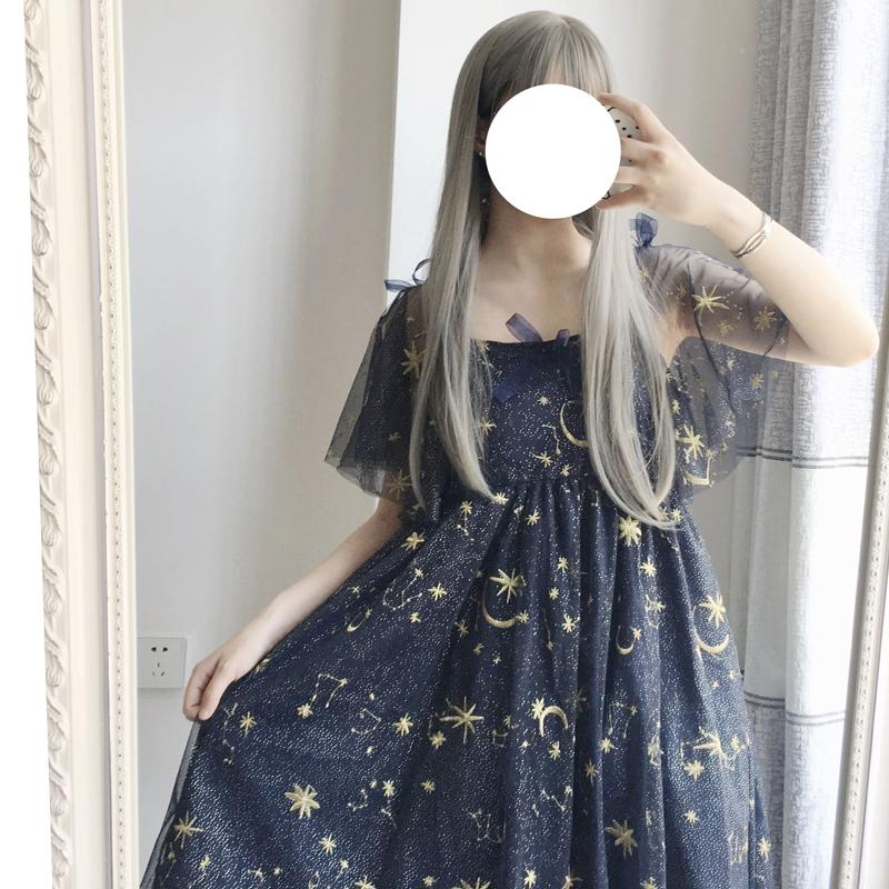 Embroidered Dress Crescent Pointed Lolita Girl Gothic Moon Black Collared Blouse