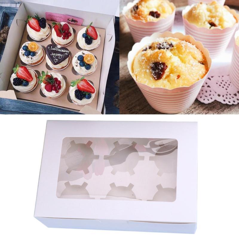 10pcs кекс Box Картонный Упаковка Контейнер Дисплей Clear Window Хранение сдобы Десерт День рождения: 2 4 6 Отверстия Свадеб