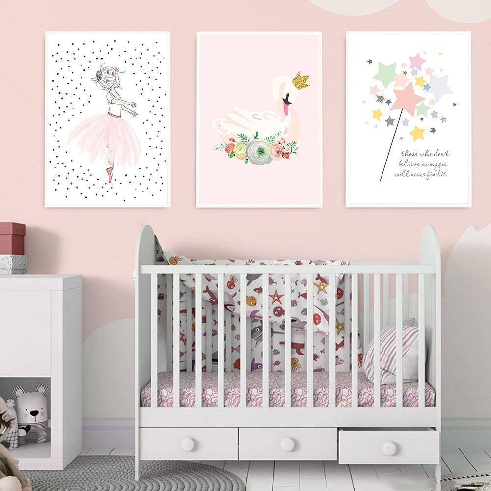 Menina do bailado pintura da lona Imprimir Swan Crown Floral Poster Nursery Wall Art Quarto Mágico Estrelas de Gravuras do bebê Crianças Wall Decor