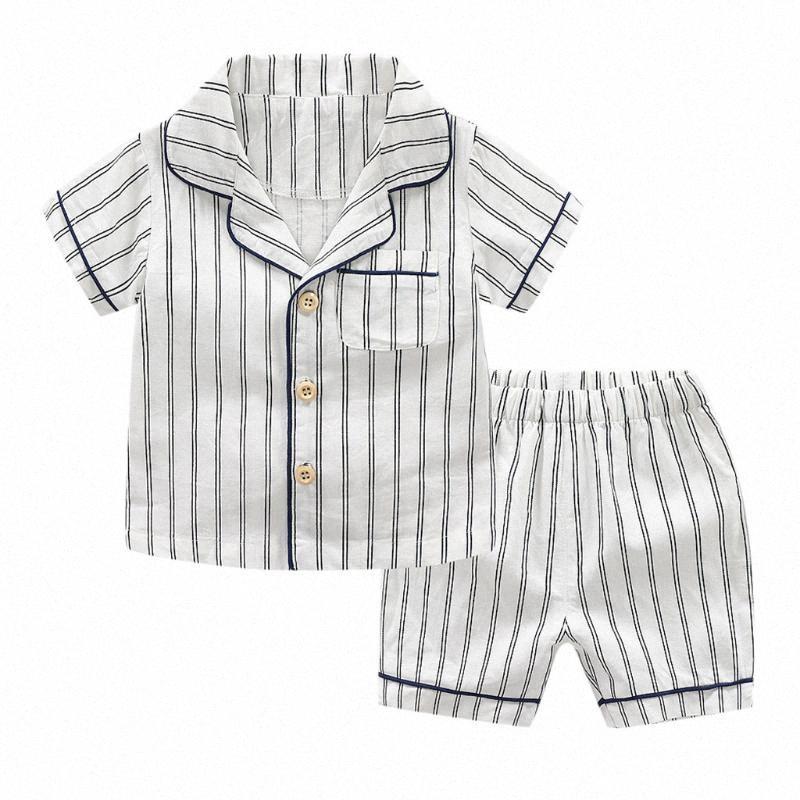 Infant Baby Boy Kid с коротким рукавом полосатой Tops + Шорты Пижама Outfit Set Детские наборы одежды младенца девушки одежды Casual Эпикировка mVAe #