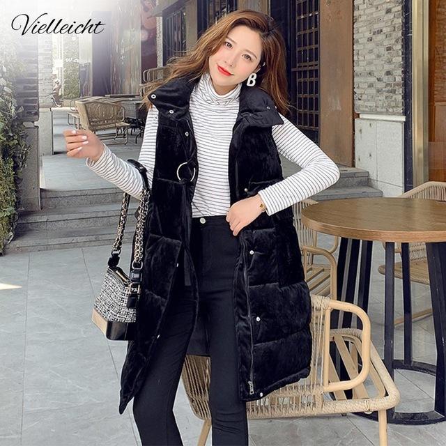 Nouveau long Vielleicht Gilets Gilet Manteau Femme 2020 Gilet d'hiver Femmes Gilet Mode Femmes pied de col en velours Veste Veste pour Fem ...