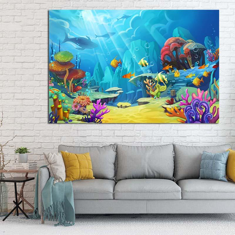 Under Sea World Coral Dolphin Fish Canvas Painting Art Abstract Prints Posters Picture Wall Art Children's Room Home Decoration