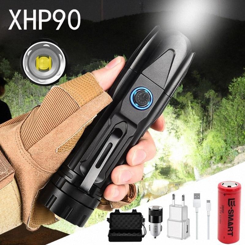 Usb 16000LM XHP90 Super Bright LED recarregável Tactical Zoom de Alta Potência Tocha impermeável com fundo Mãos Cone Ataque gratuito Flashligh bY7k #