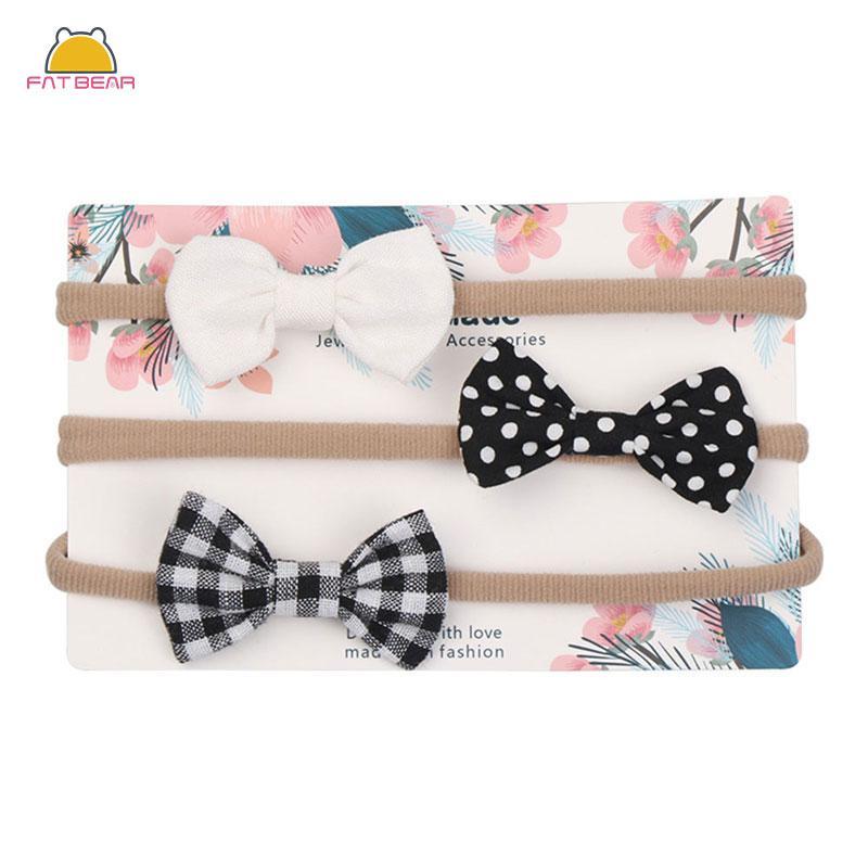 3pcs / set de nylon vendas del bebé para las muchachas la impresión del punto de la pajarita ornamento de la flor Tiaras elástico para el regalo de los niños Sombreros Accesorios para el cabello