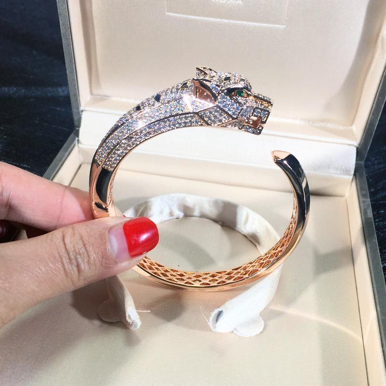 تصميم العلامة التجارية ليوبارد سوار للنساء أعلى جودة زركون 18K مطلية بالذهب مجوهرات فاخرة الهيب هوب أساور بالجملة
