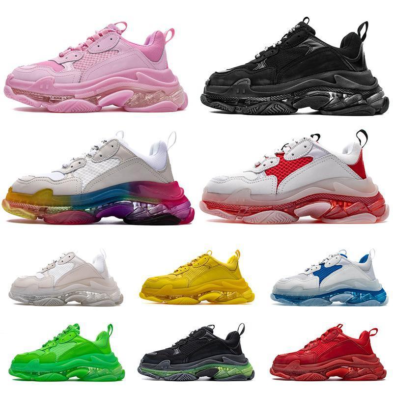 Luxury Fashion Designer I formatori Cancella Sole Triple-S Sneakers piedi scarpe casual Vintage Parigi 17FW Triple s pedana piatta Marca Formatori