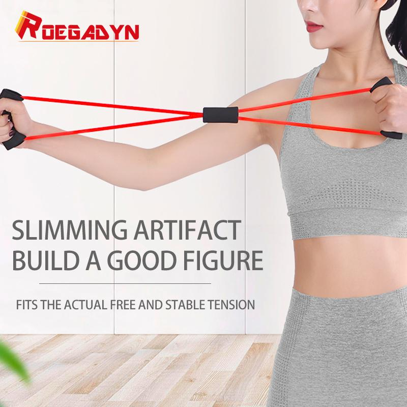 Roegadyn 8 Word Expander Busto corda elastica fitness Gum Workout attrezzature gomma della fascia di resistenza Per Fitness Gym Yoga Crossfit