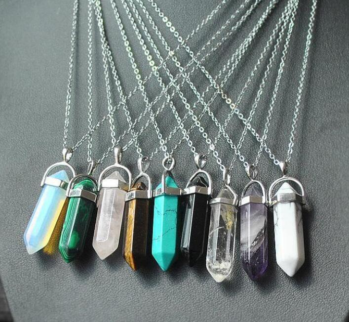 Necklace Jewelry Hexagonal Column Natural Stone Pendants Statement Silver Chain Chokers Rose Quartz Chakra Healing Crystals Necklaces