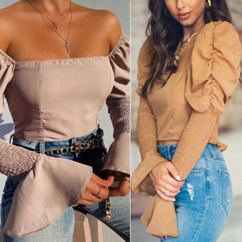 de las mujeres largas de la manga de Bell Tops cuello cuadrado ocasional de la camisa de la blusa de cultivos Túnicas Tee Señora Ropa # A040