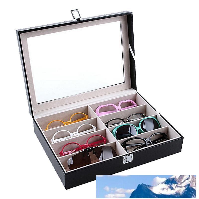 Lunettes de soleil lunettes Boîte de rangement avec fenêtre cas Imitation affichage Lunettes de rangement en cuir Organisateur Collector 8 Emplacement de boîte de stockage