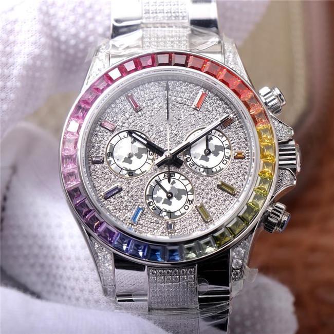 2020 Полный бриллиант серии 40 мм Диаметр бренда часы мужские часы Прекрасная стальная сторожевая батарея автоматическое механическое движение дизайнерские часы сапфир