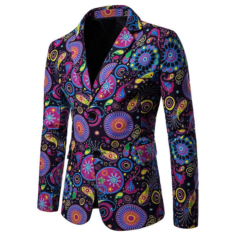 Nueva Impresión hombres capa de la manera del verano de la chaqueta delgada ocasional del ajuste de dos botones de las chaquetas de la boda terno homme traje de negocios Streetwear