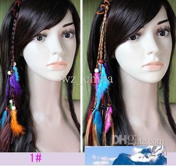 Hotsale Handgemachte Haar-Stirnband Braid Schmuck-Feder-Verlängerungen Haar-Klipp für Frauen Art und Weise neu 10pcs / lot