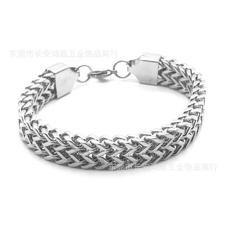 titanium steel male and female coarse chain 12 mm double row positive and negative grinding chain bracelet 100 tie stainless steel jewelry