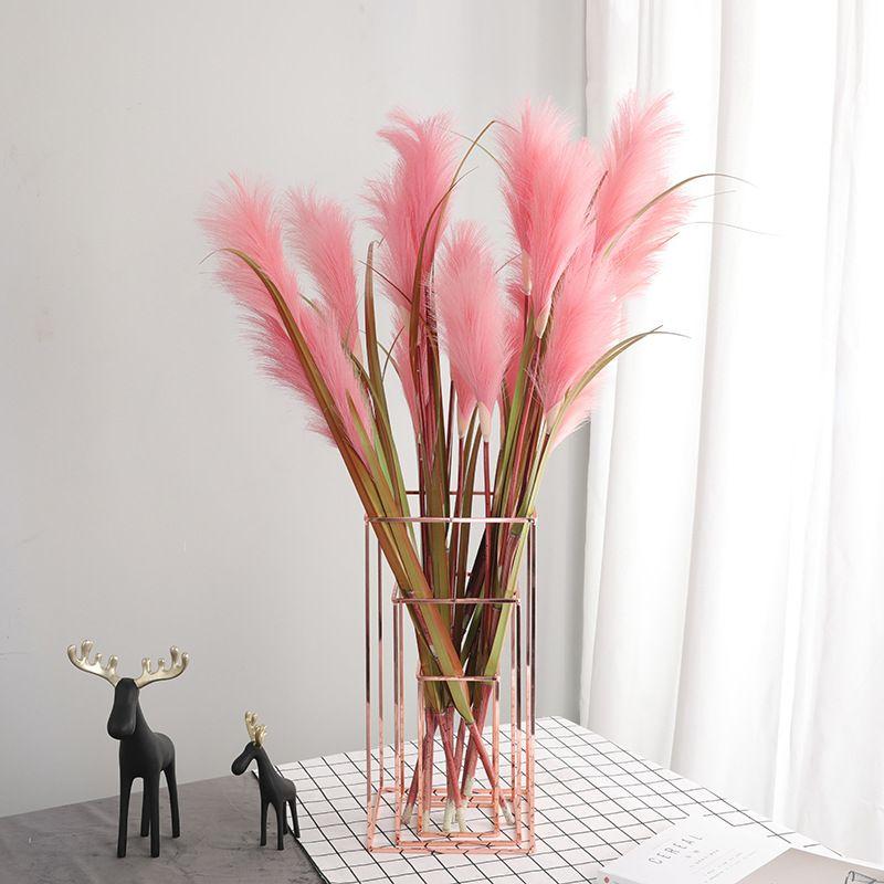 Decoração Nordic Ins Vermelho Rosa Reed Branch Wedding Plant Simulation Pampas Grama Planta artificial para a decoração Home