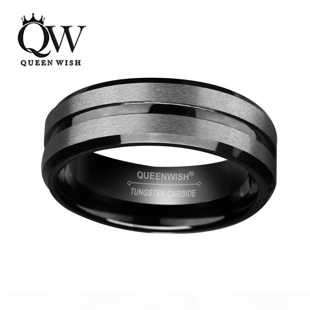 8mm Schwarz Hartmetall-Ring für Männer und Frauen Silber gebürstet und schwarze Streifen-Hochzeits-Bänder Promise Ring-Verpflichtungs-Fashion Jewelry