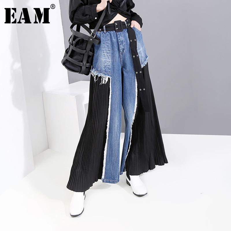 [EAM] 높은 허리 블루 내기 분할 롱 넓은 다리 데님 바지 새로운 느슨한 적합 바지 여성 패션 봄 2020 1D669 CX200804 가을